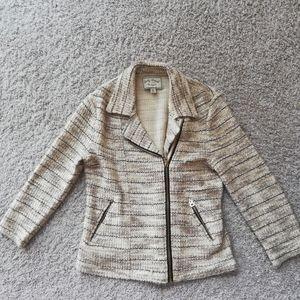 Lucky Brand Striped Zip Up Knit Cardigan Blazer